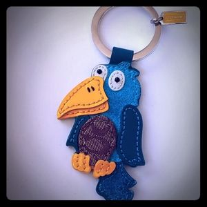 Authentic Coach leather parrot keychain